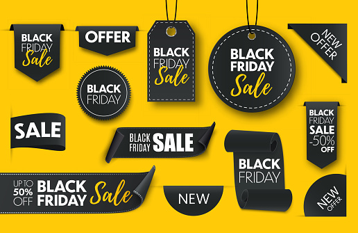 Black friday sale ribbon banners collection isolated.