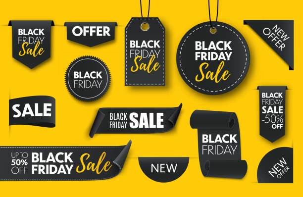 Black friday sale ribbon banners collection isolated. Black friday sale ribbon banners collection isolated. Vector price tags isolated dealing cards stock illustrations