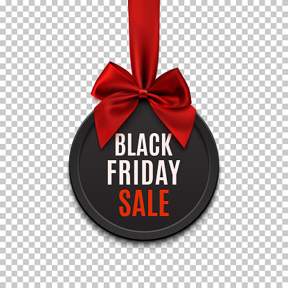Black Friday sale round banner with red ribbon and bow.