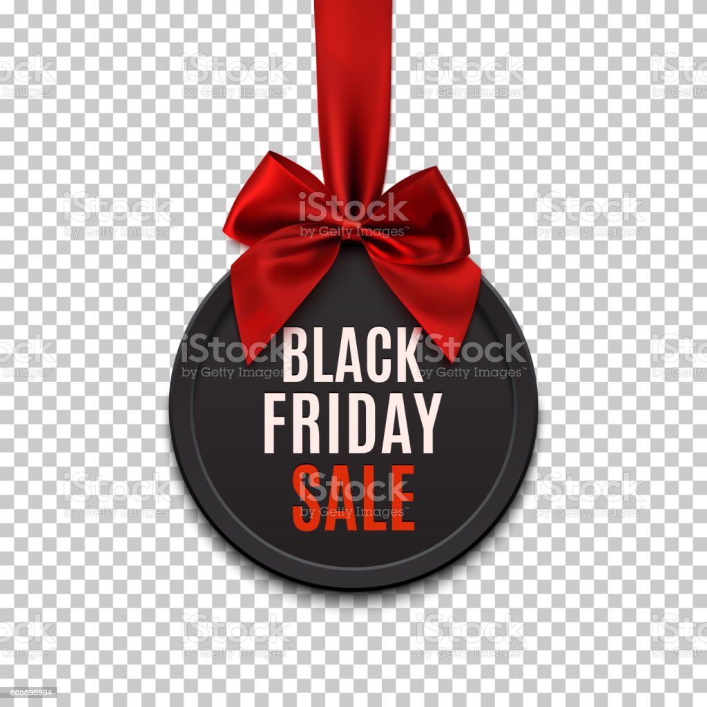 Black Friday sale round banner with red ribbon and bow. vector art illustration