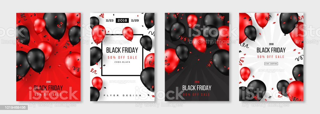 Black Friday Sale set of posters Black Friday Sale set of posters or flyers design with balloons and confetti. Vector illustration. Place for text. Backgrounds stock vector