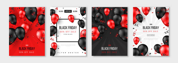 Black Friday Sale set of posters Black Friday Sale set of posters or flyers design with balloons and confetti. Vector illustration. Place for text. black friday sale stock illustrations