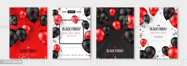 Black Friday Sale Set Of Posters - Arte vetorial de stock e mais imagens de Balão - Enfeite