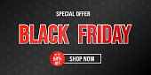 Black Friday Sale - shiny poster with text. Vector.