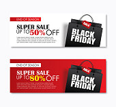 Black friday sale shopping bag cover and web banner design template. Use for poster, flyer, discount, shopping, promotion, advertising.