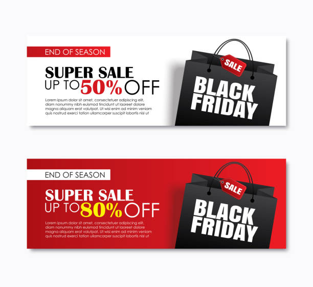 schwarzer freitag verkauf einkaufstasche abdeckung und web-banner design-vorlage. verwendung für poster, flyer, rabatt, shopping, promotion, werbung. - black friday stock-grafiken, -clipart, -cartoons und -symbole