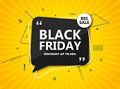 Black Friday sale, shopping poster. Seasonal discount banner - black speech bubble on radial yellow background.