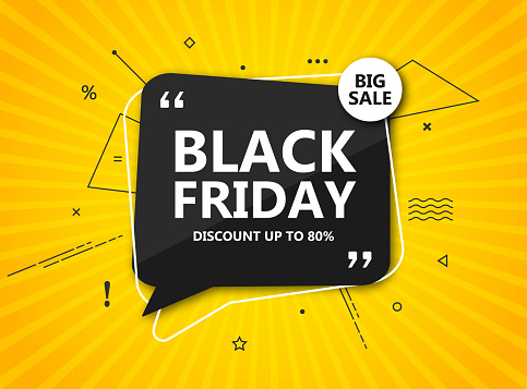 Black Friday Sale Shopping Poster Seasonal Discount Banner Black Speech Bubble On Radial Yellow Background Stock Illustration - Download Image Now