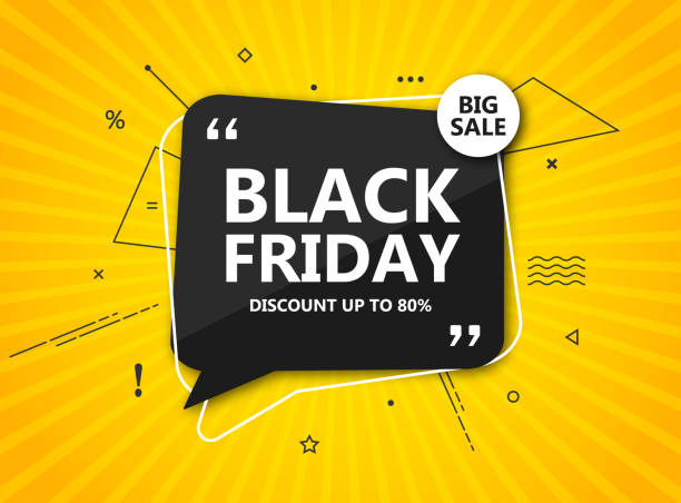 black friday sale, shopping poster. seasonal discount banner - black speech bubble on radial yellow background. - sales stock illustrations