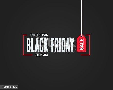 black friday sale sign on black background 10 eps