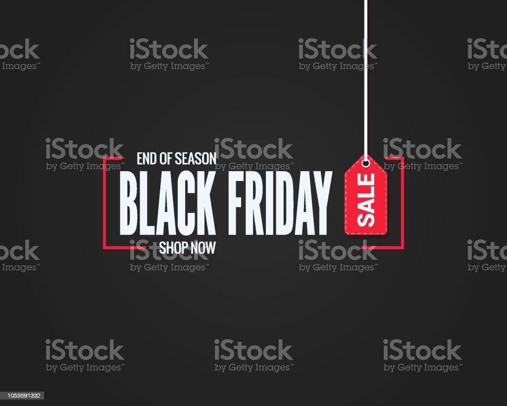 black friday sale sign on black background vector art illustration