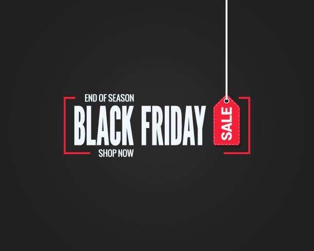 black friday sale sign on black background - handel detaliczny stock illustrations