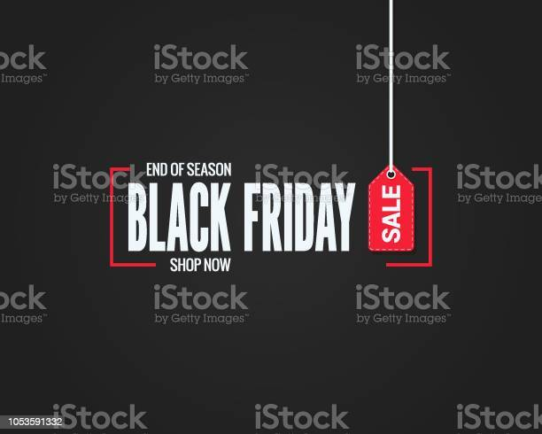 Black Friday Sale Sign On Black Background - Arte vetorial de stock e mais imagens de Abstrato