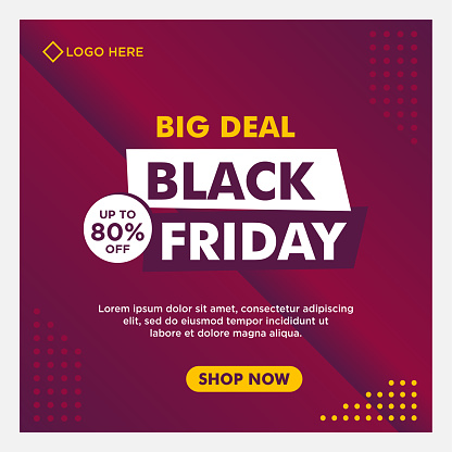 Black Friday sale social media banner template with purple background gradient style