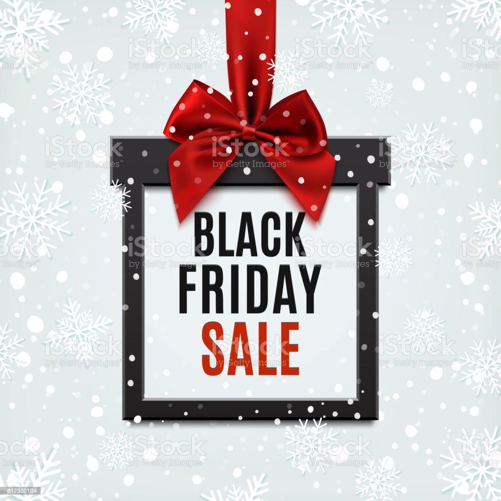 Black Friday sale, square banner in form of Christmas gift. vector art illustration