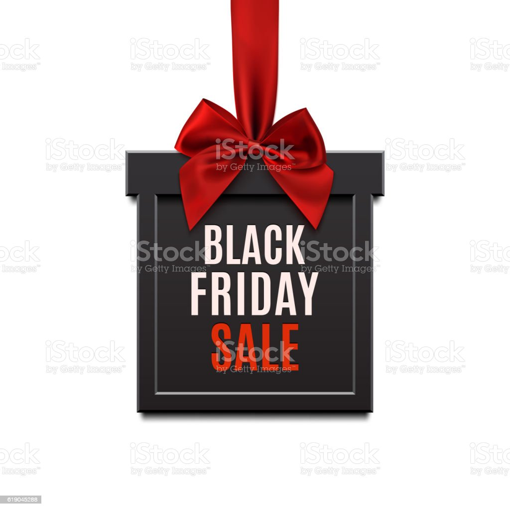 Black Friday Sale Square Banner In Form Of Christmas Gift Stock ...