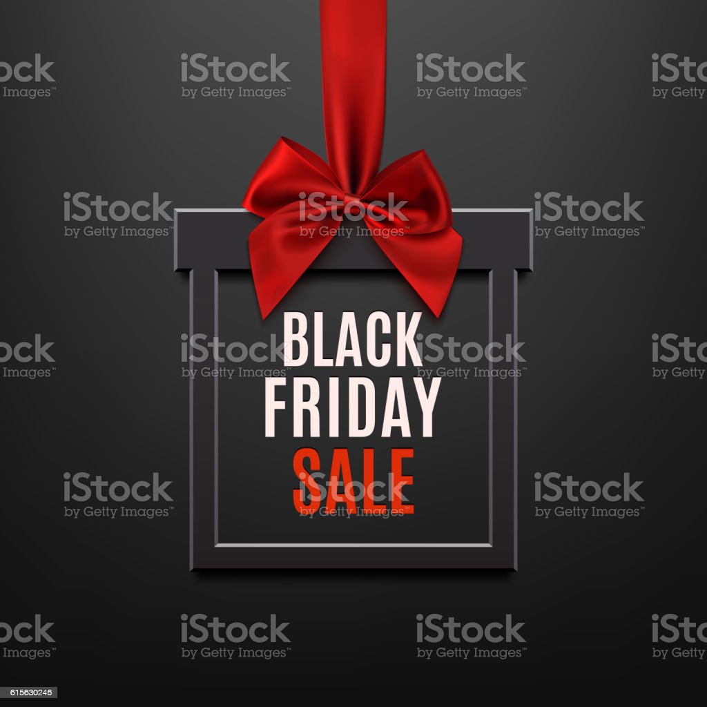 Black Friday sale, square banner in form of gift. vector art illustration