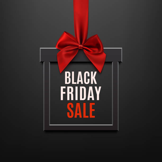 Black Friday sale, square banner in form of gift. Black Friday sale, square banner in form of Christmas gift with red ribbon and bow, black illuminated background. Brochure or banner template. black friday sale background stock illustrations