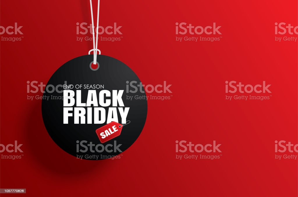 Black friday sale tag circle banner and the rope hanging on red background Black friday sale tag circle banner and the rope hanging on red background Abstract stock vector