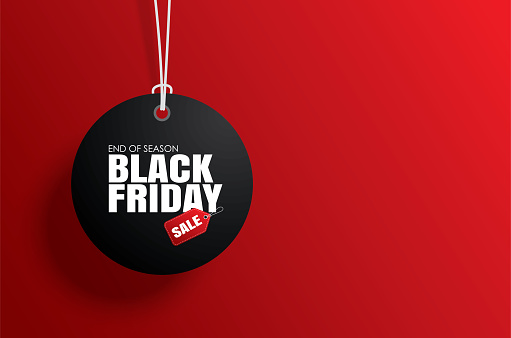 Black friday sale tag circle banner and the rope hanging on red background