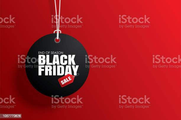 Black Friday Sale Tag Circle Banner And The Rope Hanging On Red Background Stock Illustration - Download Image Now