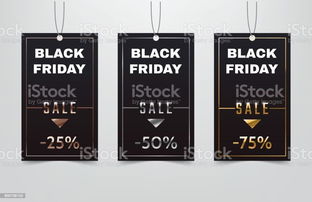 black friday sale tag collection bronze silver gold discount coupon