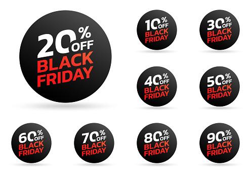 Black Friday sale tag or sticker set. 10,20,30,40,50,60,70,80,90 percent price off. Discount badge, label for promo banner design. Vector illustration.