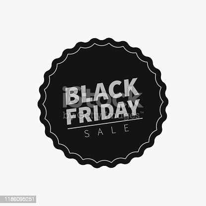 Black Friday sale tag. Ready sticky label template design for use in web ad or print. Vector flat sticker or badge design. Trendy sale banner template.