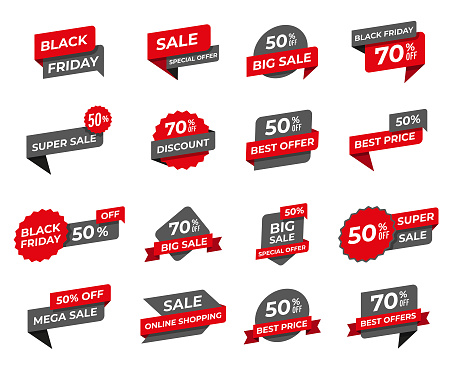 Black friday sale tags collection