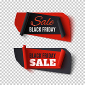 Black Friday Sale, two abstract banners on transparent background. Vector illustration.