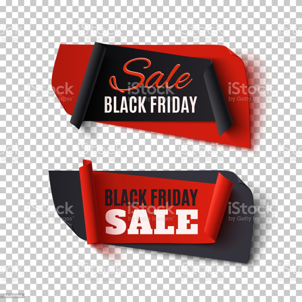 Black Friday Sale, two abstract banners on transparent background. vector art illustration