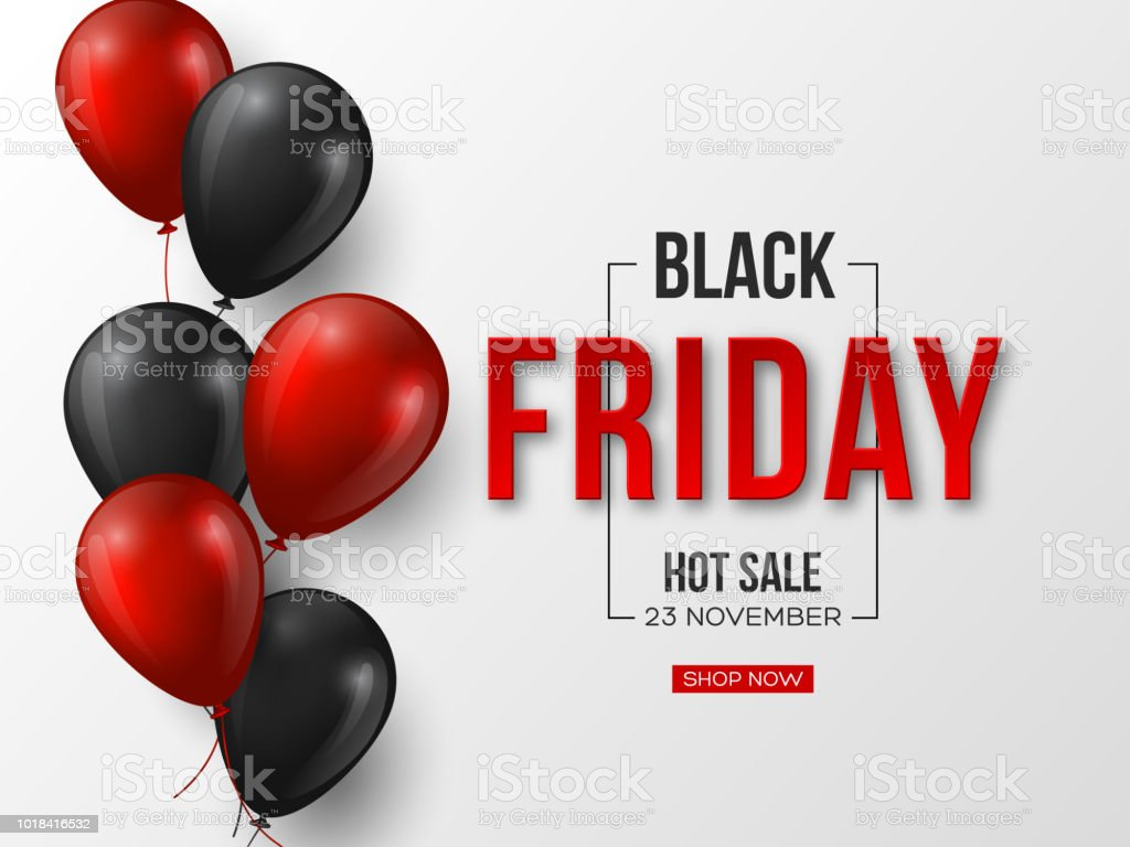 Black Friday sale typographic design. 3d stylized red color letters with glossy balloons. White background. Vector illustration. - Royalty-free Abstrato arte vetorial