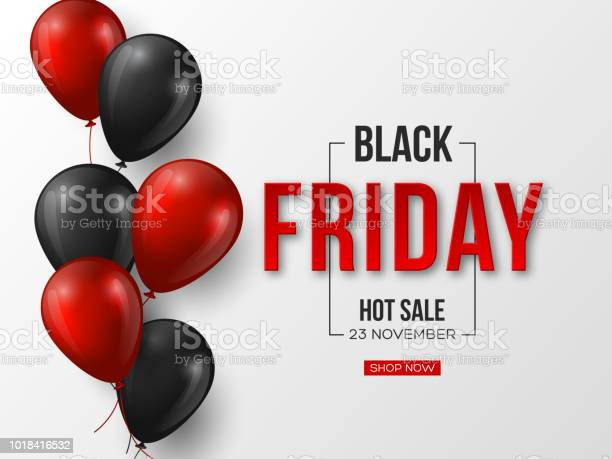 Black Friday Sale Typographic Design 3d Stylized Red Color Letters With Glossy Balloons White Background Vector Illustration - Arte vetorial de stock e mais imagens de Abstrato