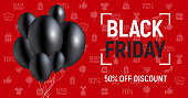 Vector Concept with Black Friday text and black ballons on red background