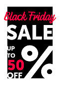 Vector illustration, Black Friday Sale banner design. Modern typography poster.