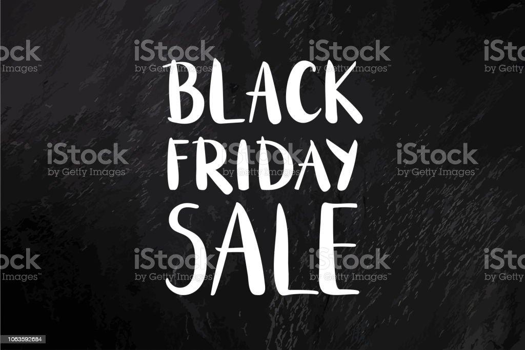 Bannière de vecteur de vente vendredi noir avec inscription sur fond noir ardoise, avec une place pour le texte et le logo, une affiche de rabais dessinés à la main - Illustration vectorielle