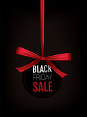 """Black Friday retro hanging tag in black and red with red ribbon bow and the text """"Black Friday Sale""""."""