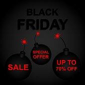 Vector illustration of black Friday, discounts, sale, special offer, banner, flyer