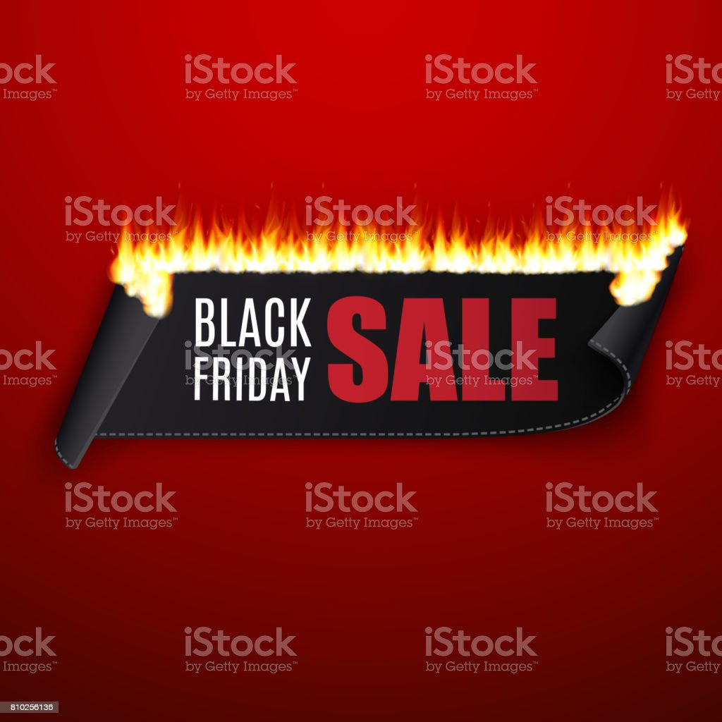 Black friday sale vector illustration with black ribbon and fire vector art illustration