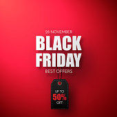 Black Friday Sale Vector Template. Sale background with black price tag.
