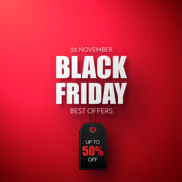 black friday sale vector template. sale background with black tag. - black friday stock illustrations