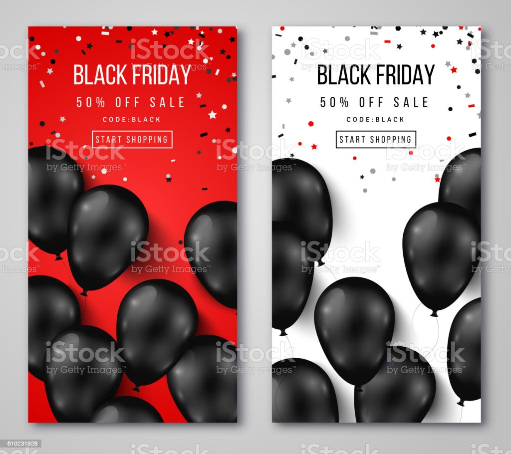 Black Friday Sale Vertical Banners vector art illustration