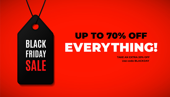 Black friday sale web banner design with modern black and red colors.