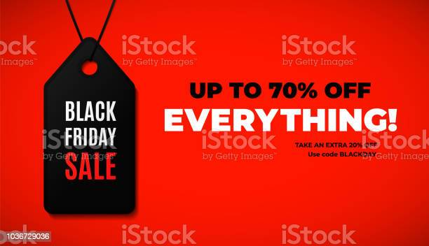 Black Friday Sale Web Banner Design With Modern Black And Red Colors Stock Illustration - Download Image Now