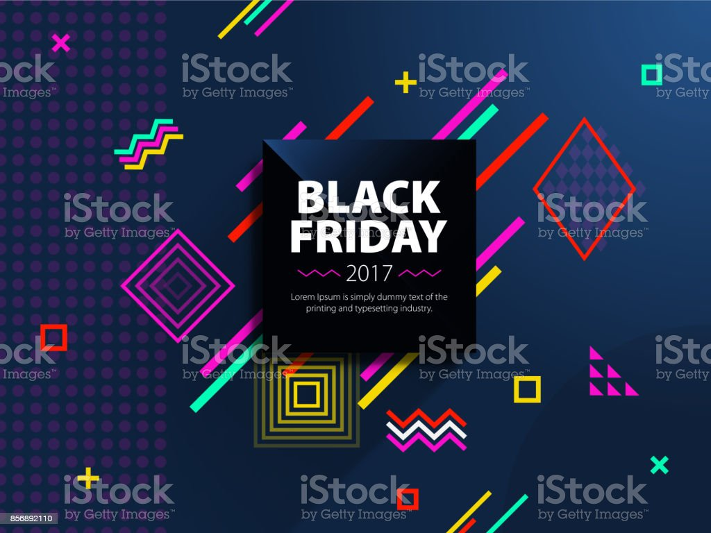 Black friday sale web banner. Fashionable and modern banner for advertising. Black square on a blue background. vector art illustration