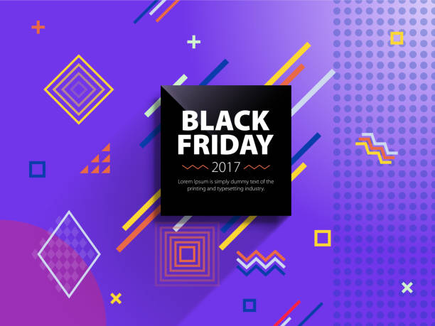 Black friday sale web banner. Poster Sale. Template in retro style. Fashionable and modern banner for advertising. vector art illustration