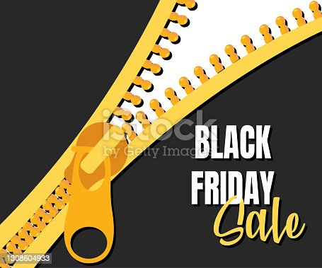 istock black friday sale with gold zipper. Yellow advertising icon to promote retail business, attract customers. Sale of various goods for a limited time. Vector illustration. 1308604933