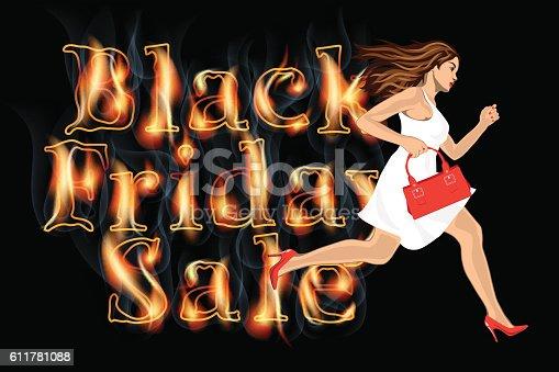 Black friday sale woman run