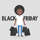 Black Friday sale. Young black girl holding a bunch of black shopping bags. Special offer. Big sale event. Flat editable vector illustration, clip art