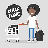 Black Friday sale. Young black girl holding a bunch of black shopping bags. Special offer. Shopping cart. Big sale event. Flat editable vector illustration, clip art